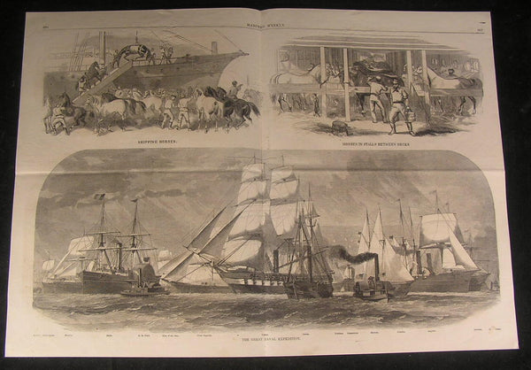Great Naval Expedition Loading Horses onto Ships 1861 antique engraved print