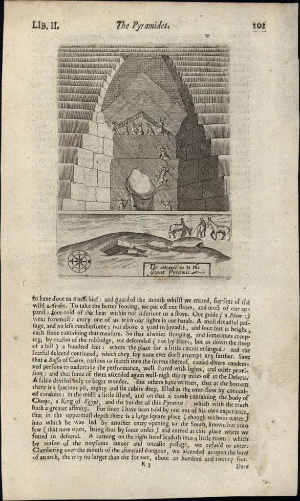Egypt Pyramids Entrance 1670 rare antique engraved print primitive Chetwin