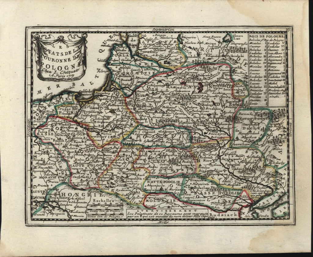 Kingdom of Poland shows states 1719 Chiquet decorative map w/ text leaf