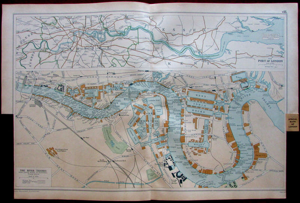 Port of London along Thames c.1911 West india Docks East india Surrey map