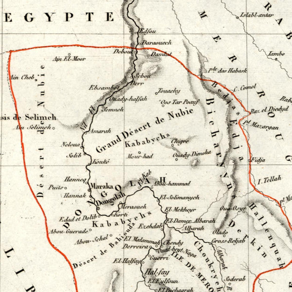 Africa Nubia old map Dongola Red Sea Egypt 1834 Tardieu scarce Perrot miniature
