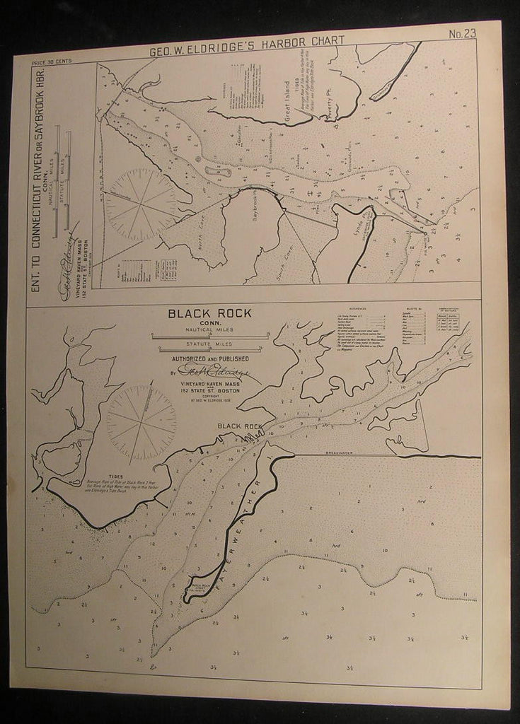 Black Rock Connecticut & Saybrook Harbor 1908 antique nautical map