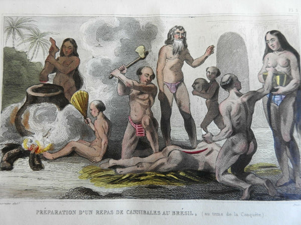 Brazilian Cannibals Scary Engraving 1839 scarce French ethnic view