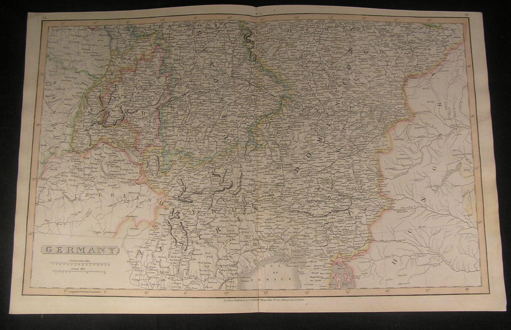 Germany Bohemia Austria Tyrol Alps 1816 large Smith antique old hand color map