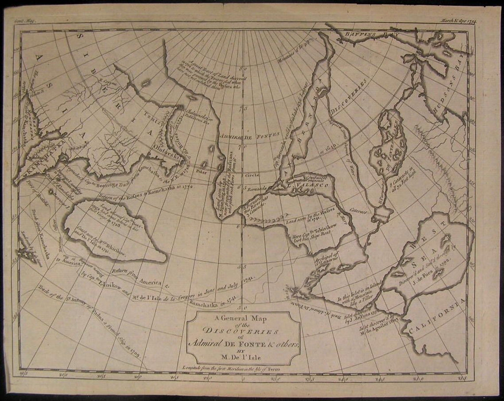 Admiral De Fonte Discoveries Western Sea Mer de L'Oues1754 De L'Isle antique map
