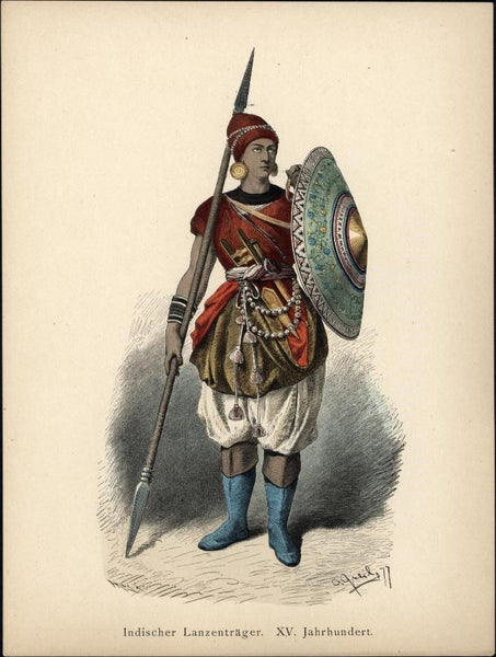 16th century Indian lancer soldier w/ spear shield c.1875 antique ethnic costume