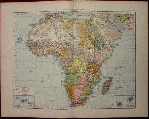 Africa continent Orange Free State Bechuana Land French Congo c.1900 color map