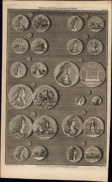 Medals of King William Queen Anne 12 rare 1747 British Numismatic Medal print