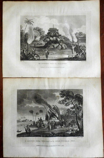 India Hindu Funerary Practices Sati Funeral Pyre 1783 engraved views lot of 2