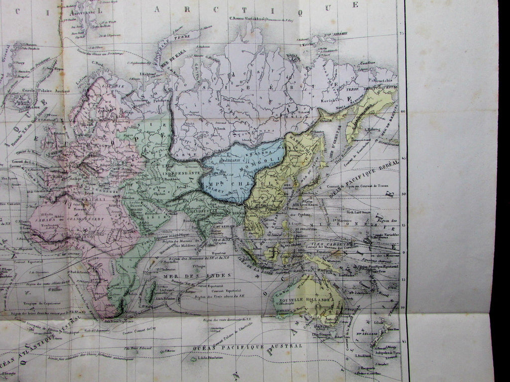 World Planisphere ocean currents physical features Mts Moon 1855 Dufour old map