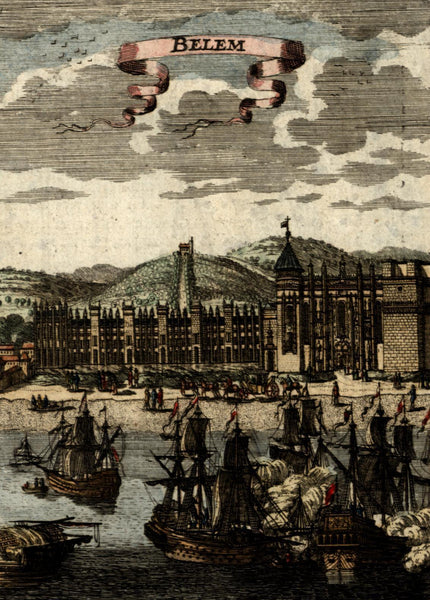 Portugal Belem harbor view 1683 Mallet antique engraved hand color print