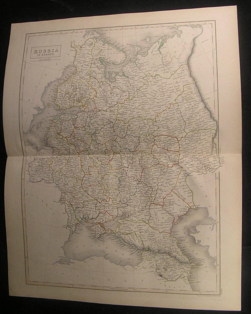 Russia in Europe Crimea Finland 1841 by Hall fine antique old hand color map