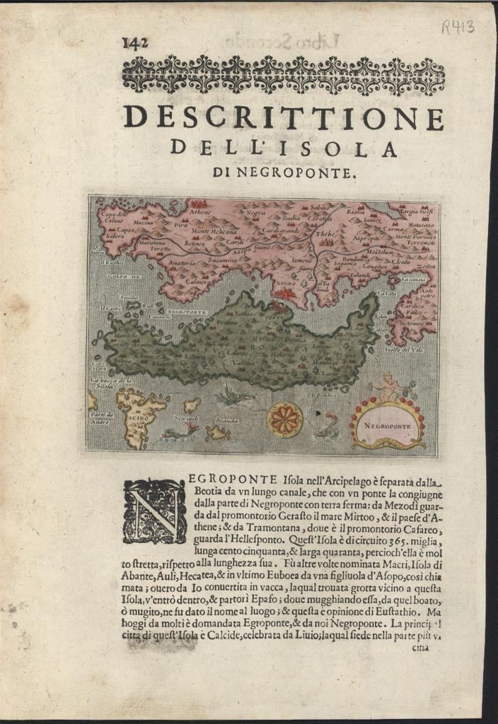 Negroponte Greece Island 1620 Porcacchi antique hand color map w/ sea monsters