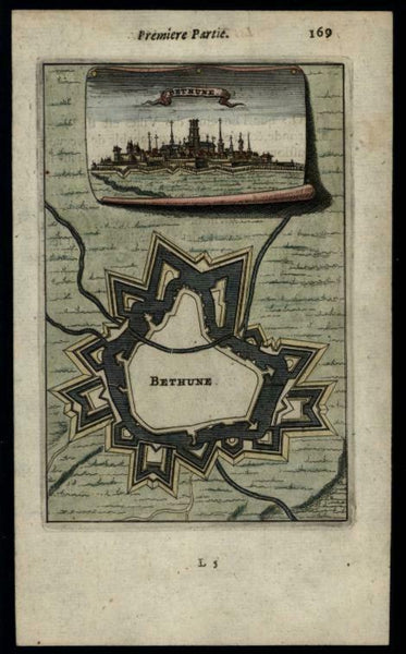 Bthune France miniature city view fort plan 1672 Mallet hand color print