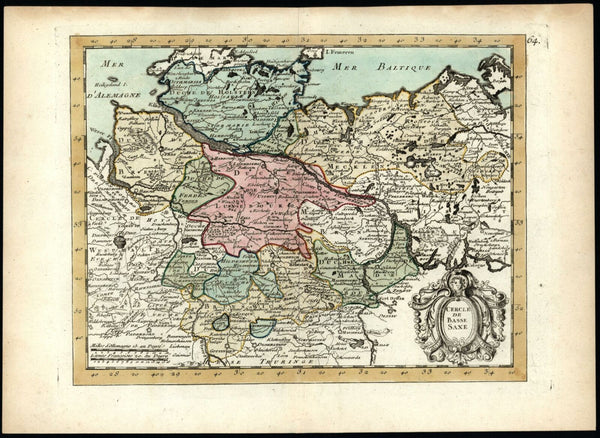 Circle Lower Saxony Northern Germany Baltic Sea 1767 Le Rouge Mecklenbourg map