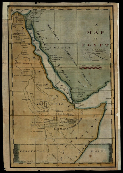 Egypt East Africa Abyssinbia Arabia c.1805 Gridley engraved American made map