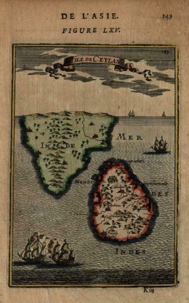Ceylon Sri Lanka Southern India Warships Colonialism 1683 Mallet miniature map