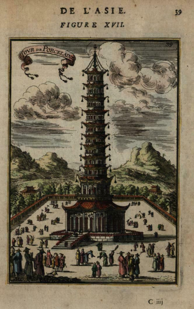 China famous architecture temple Porcelain Tower 1683 Mallet view hand color