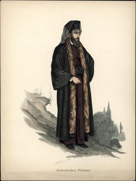Armenian Priest Christian 1st Apostolic Church c.1875 antique ethnic costume