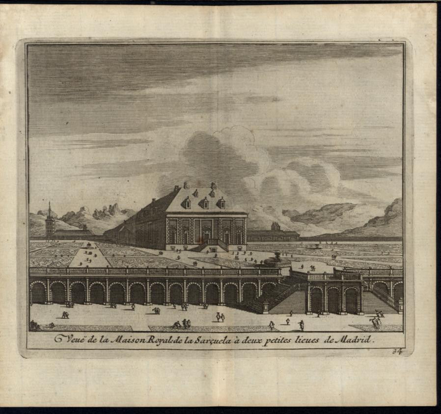 Royal Home near Madrid Exquisite Gardens Spain 1715 antique engraved print