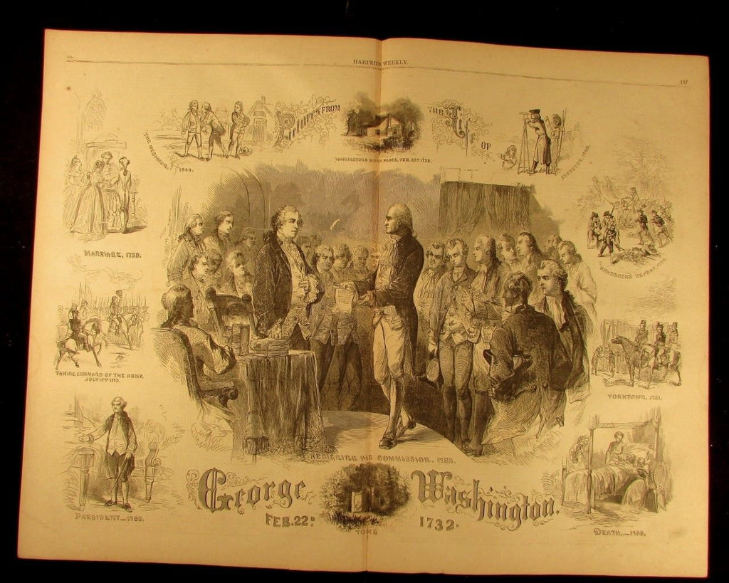 Scenes from the Life of George Washington 1864 antique Harpers Civil War print