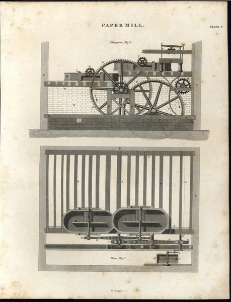 Paper Mill Intricate Machinery Complexity c.1820 antique engraved print