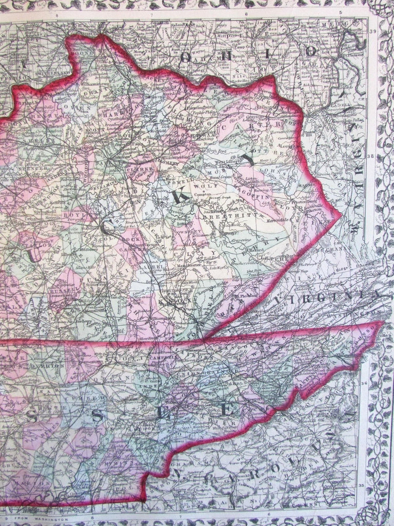 Kentucky Tennessee large 1874 Mitchell fine old map hand color