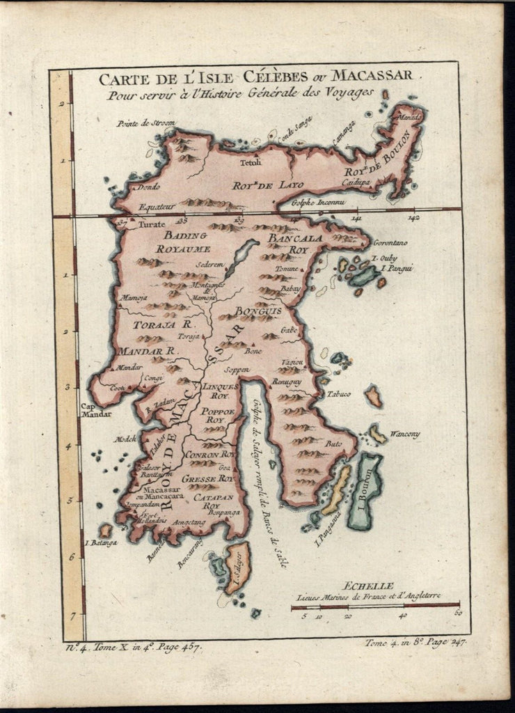 Celebes island Macassar Sulawesi 1760 Bellin antique engraved hand color map