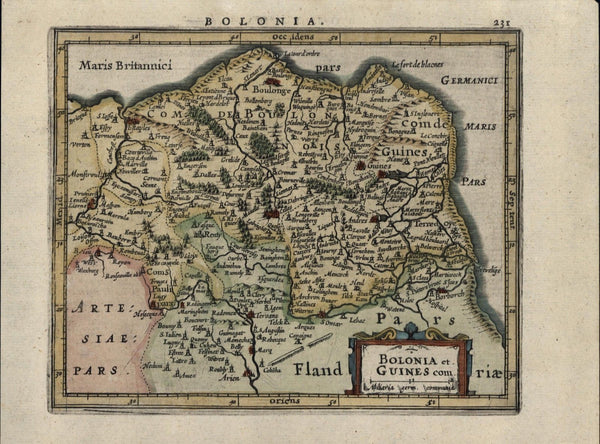 Boulon Bolonia Normandy Northern France antique c.1628 Mercator minor old map