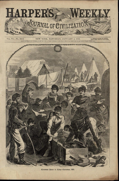 Soldiers Receiving Christmas Gifts Military Camp 1862 nice old Homer print