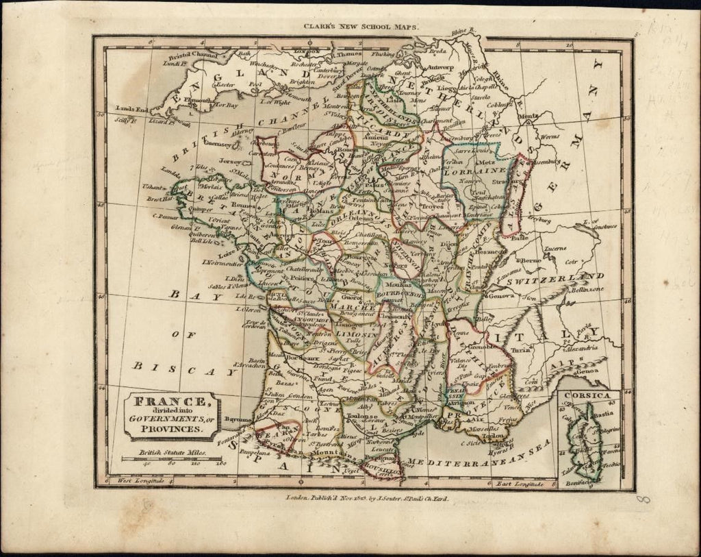 France Divided into Governments or Departments 1823 rare antique map by Souter