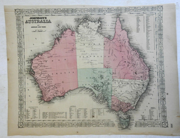 Australia New South Wales Tasmania Queensland 1862 Johnson Ward map Scarce Issue
