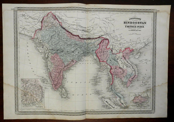 India British Raj Southeast Asia Cambodia Singapore 1867 large AJ Johnson map