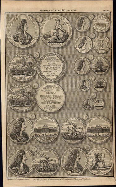 Medals of King William III victory 1747 British Numismatic Medal rare old print
