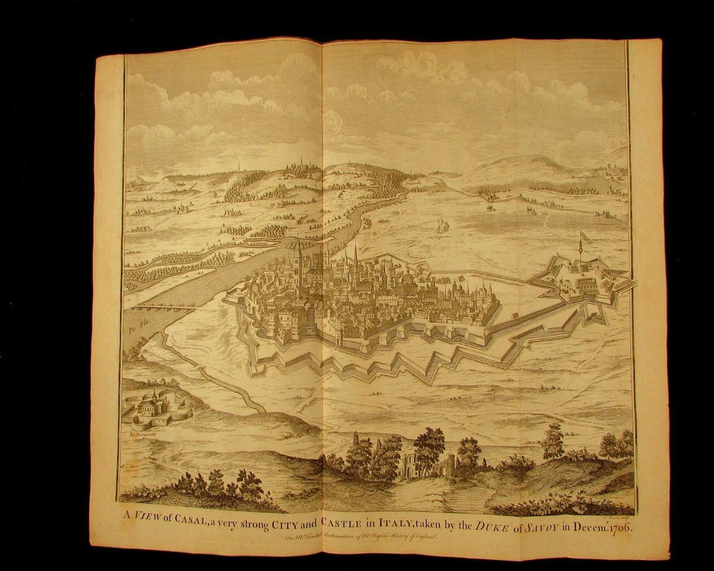 Italy Casal birds-eye city view c.1740 Basire old engraved print battle map