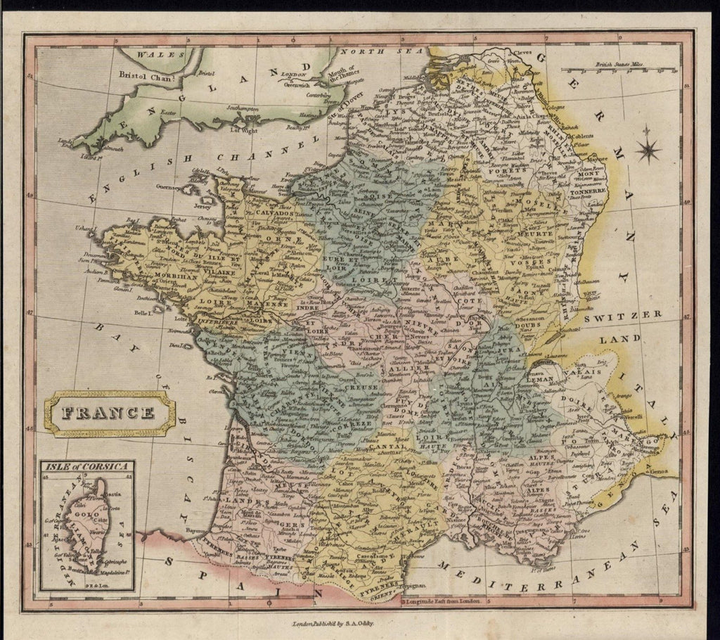 France Pyrenees Brittany Normandy Rhone River c.1805 vintage old hand color map