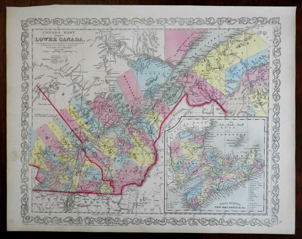 Eastern Canada Quebec Montreal New Brunswick Nova Scotia 1857 DeSilver map
