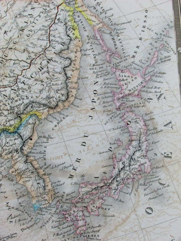 China Japan Korea Grand Tibet Bucharia Mongolia 1836 Brue large folio old map
