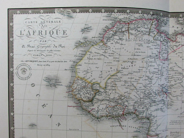 Africa Mts. of Moon shown 1828-34 Brue fine large folio old map