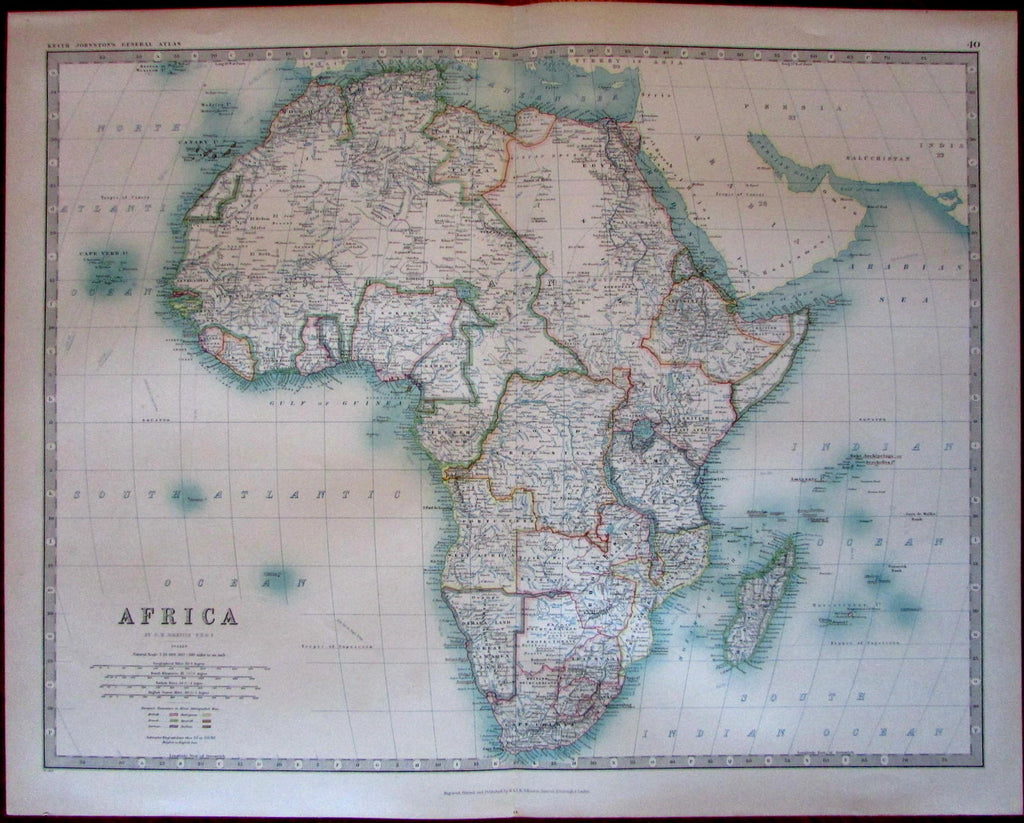 Africa continent great details c.1905 large Johnston lithographed antique map