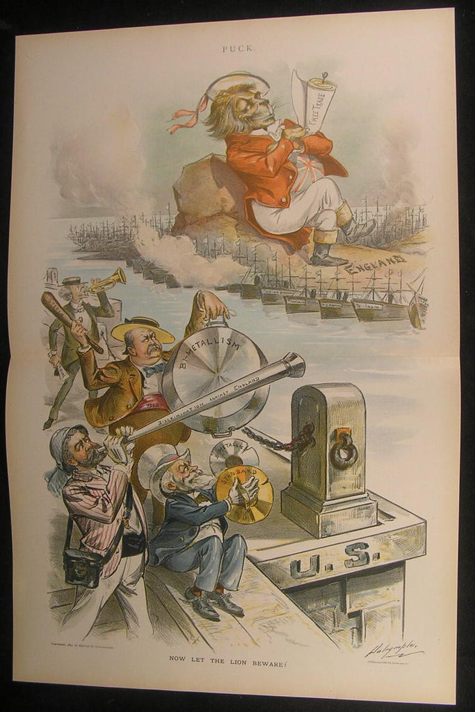English American Rivalry Free Trade Colonies 1894 antique color lithograph print