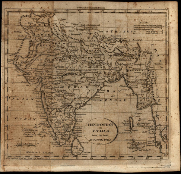 India Hindostan c.1797-1805 Gridley Doolittle engraved old map Wheat & Brun #886