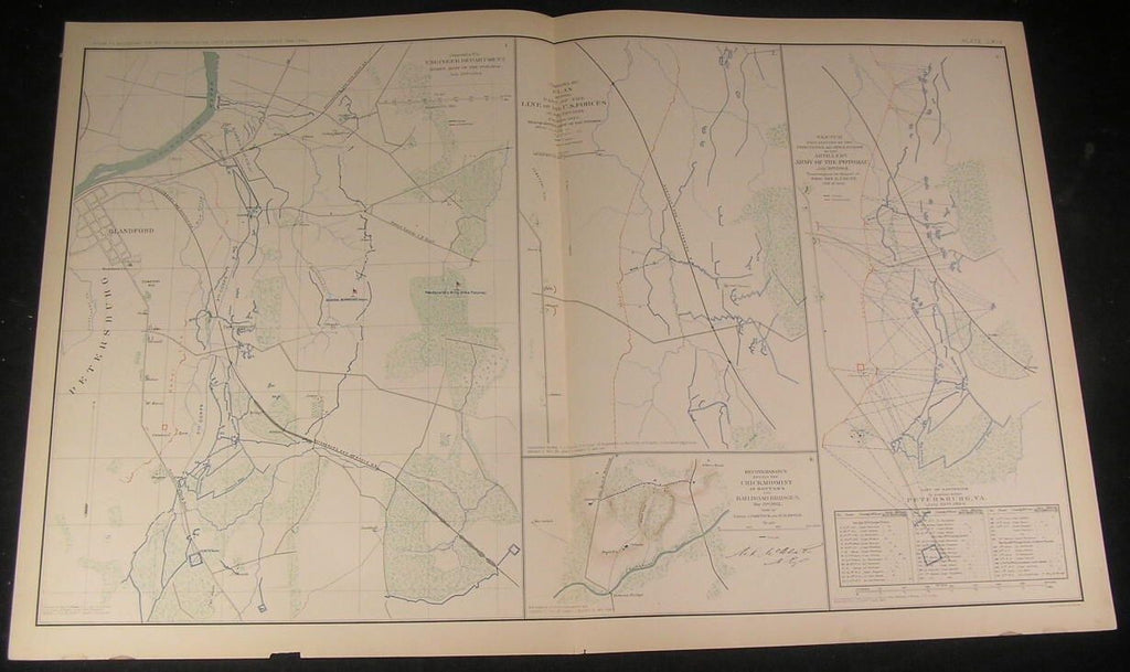 Artillery Paths Army of Potomac Union c.1890s antique detailed Civil War map