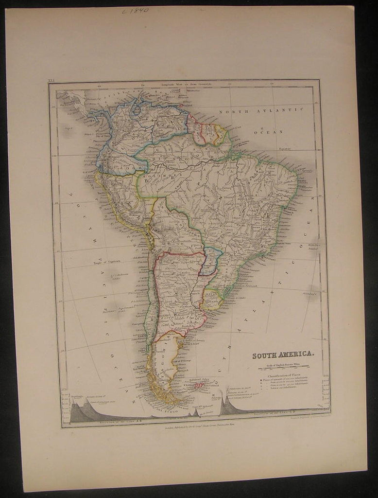 South America c.1840 Dower w/ Mt. Profiles fine old vintage antique map