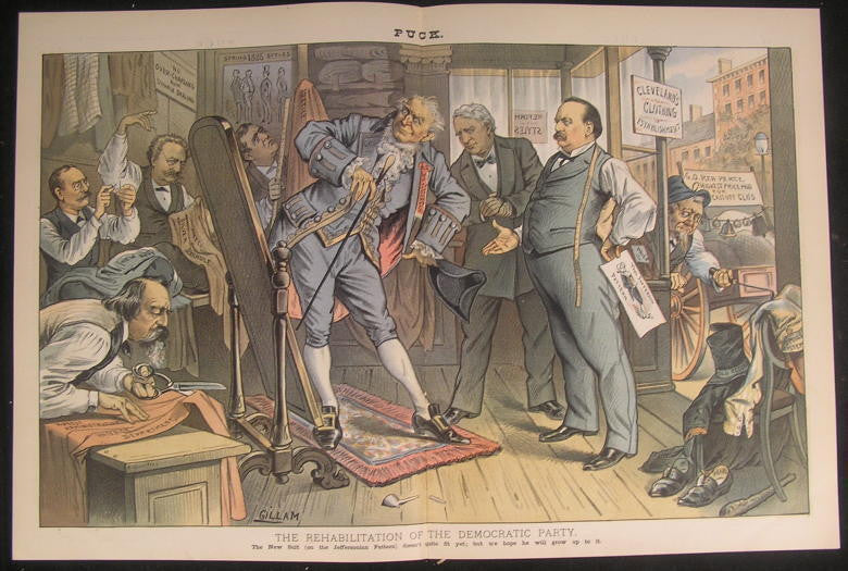 Democrat Rehabilitation Image Jeffersonian 1885 antique color lithograph print