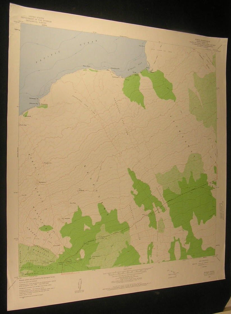 Kiholo North Kona Hawaii Kaupulehu Lava Flow 1960 antique color lithograph map