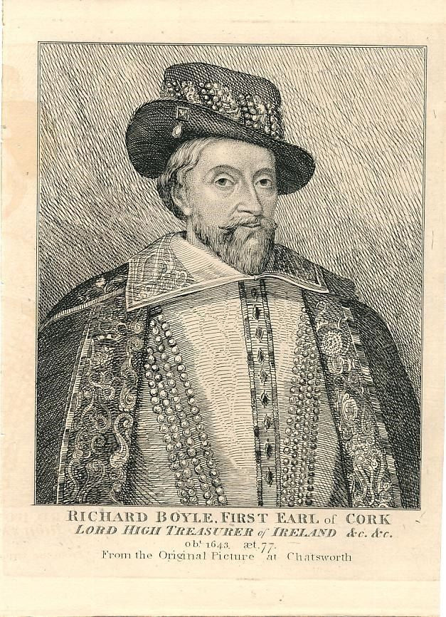 Richard Boyle Earl of Cork &c. c.1790 fine antique engraved historical portrait