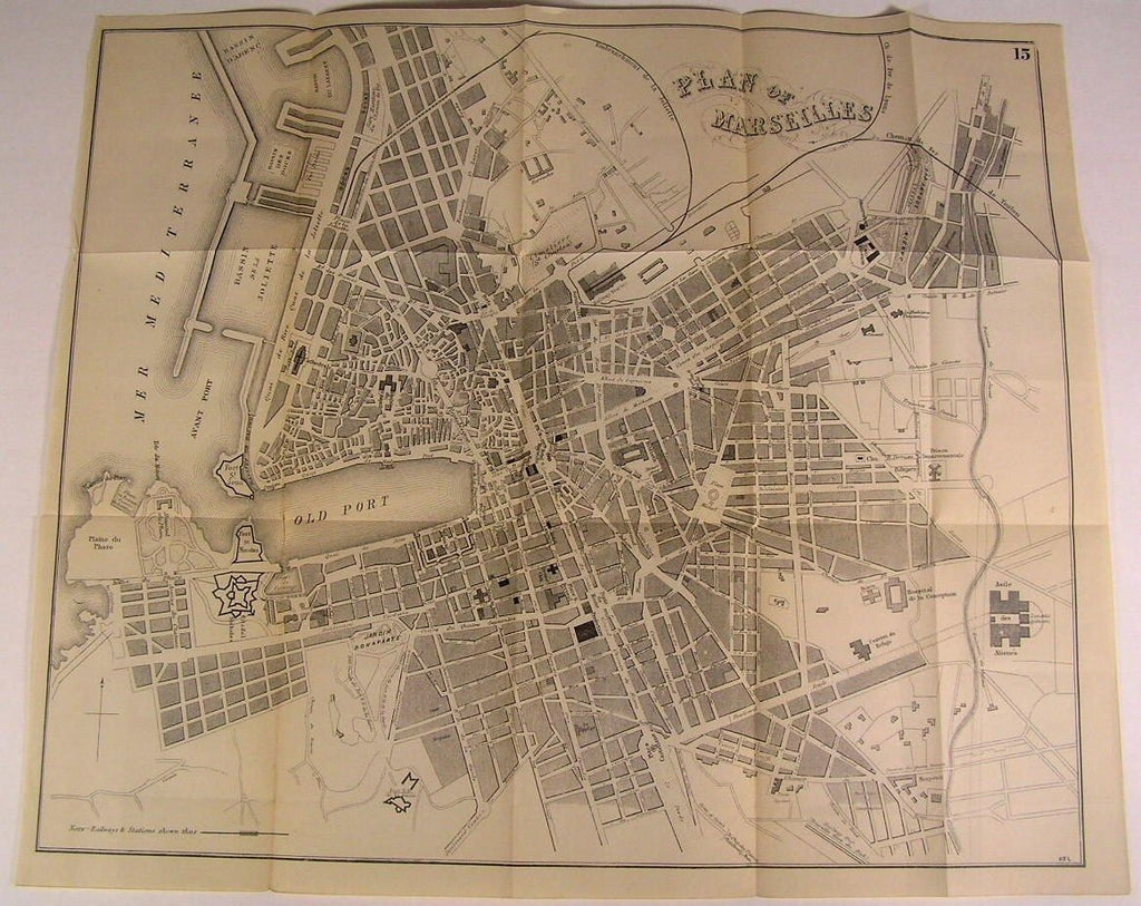 Marseilles France Old Port c. 1880 detailed scarce folding city plan old map