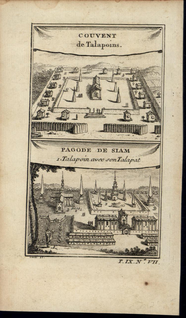 Pagoda Buddhist Monk Convent Siam scarce old c. 1749 antique engraved print