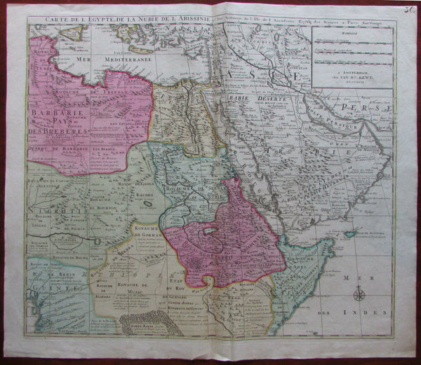 Arabia interior East Africa Nile source 1792 rare Elwe Delisle large map